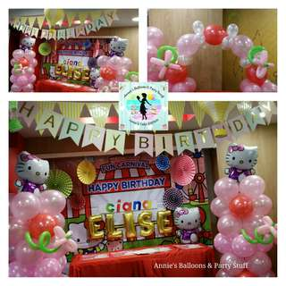 Party Balloons - Set of Hello Kitty Theme Balloon Pillars and Balloon Cake Arch