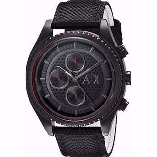 🚚 BN Armani Exchange AX1610 Chronograph Black Dial Black Nylon Men's Watch