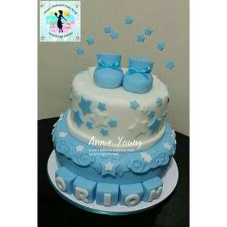 Baptismal Party Cake: Baby Booties Fondant Design
