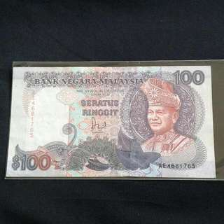 Duit Kertas lama Rm100 Jaffar Hussien