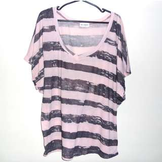 Charity Sale! Authentic Mangos Beach Striped Loose Fit Cotton Women's Shirt Top Size Large to Extra Large