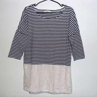 Charity Sale! Authentic Lowry's Farm Cotton Lace Striped Top shirt Shirt size Medium Women