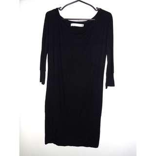 Charity Sale! Authentic Zara Basic Long Black Cotton Women's Dress Size Medium