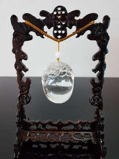 天然白水晶吊件