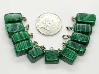 Malachite Pendants and Earrings