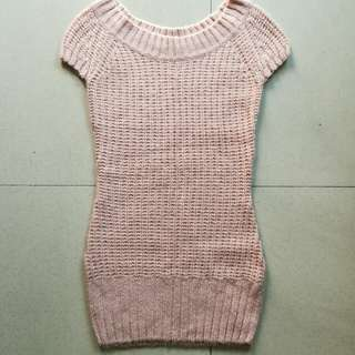 Millenial pink knit fitted dress