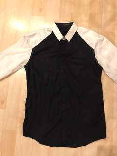 Giordano concept black and white shirt