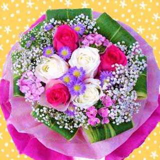 [FREE DELIVERY] 3 Hot Pink and 3 White Roses Hand-bouquet (013-MR)