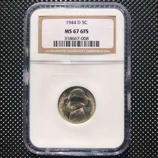 1944D 5C MS67 6FS 40%銀 美國二戰前5仙硬幣
