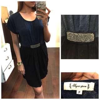Two Tone Knit Elegant Casual Dress