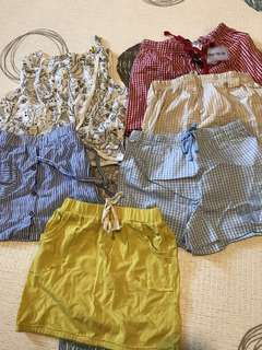 4~6yrs one step up korea skirts shorts set 6pieces
