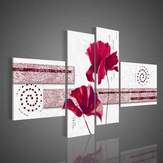 Twin Flower Oil Painting Panel 4 Piece Set