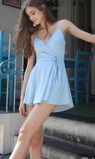 MDS baby blue dress wrap romper