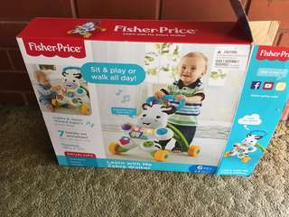 New Fisher price zebra baby walker
