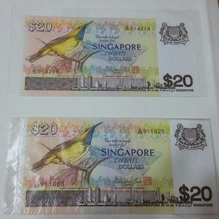 Bird Series $20 currency money notes collectible *P