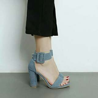 New Denim One-Buckle Belt Chunky Heel Sandals