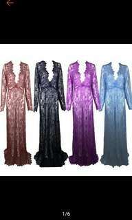 Womens Elegant Sexy Longsleeve Deep Neck Lace Long Maxi Dress