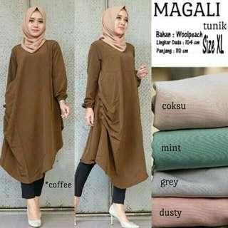 Baju Atasan Wanita Magali Tunik Blouse Baju Muslim Blus Muslim - coffe