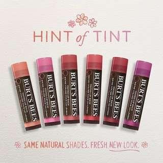 Burts Bees Tinted Lip Balm 100% Original New