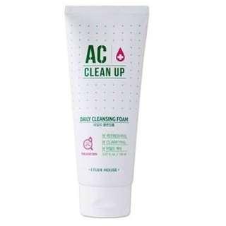 Etude House AC Clean Up Daily Foam Cleanser 100% Original Korea Skincare 150ml