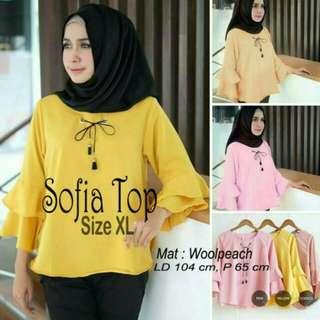 Atasan Wanita Sofia Top Blouse Tunik Baju Muslim Blus Muslim - pink