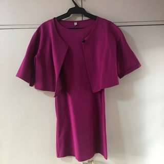 Purple Straight Dress with Cape