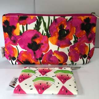 Clinique Vera Neumann Flowers and Watermelon Makeup Pouch/Bag