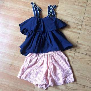 Navy Blue Tie Up Blouse and Blush Pink Eyelet Highwaist Shorts