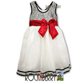 RVE Kids Black & White Sequin with Red Ribbon Girl's Dress