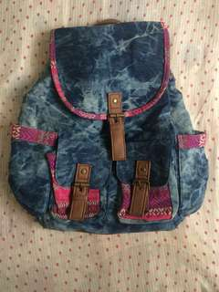 Claire's Denim Backpack with Aztec Lining
