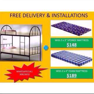 Bunk bed + mattress packages