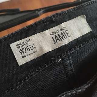 topshop moto black lace up jamie jeans