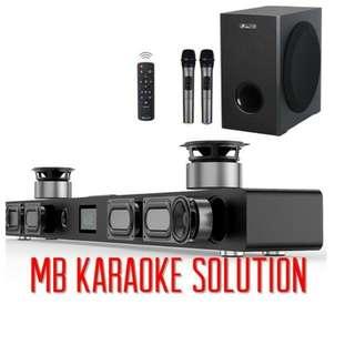 Karaoke soundbar with 2 Wireless VHF microphone(one year warranty