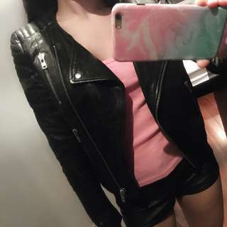 H & M black genuine leather jacket Balmain Collection