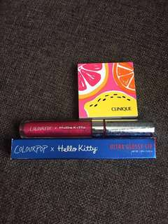 💯 %  auth clinique eyeshadow and colourpop lip gloss