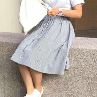 🚚 深藍條紋長裙