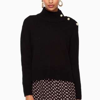KATE SPADE pearl turtleneck sweater with lace