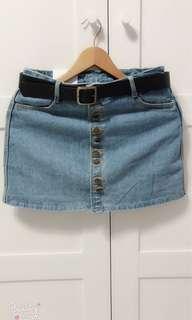🚚 淺藍牛仔短裙(含皮帶)