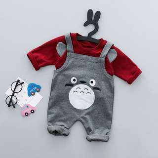 Totoro Long-Sleeve Shirt & Overall Pants 2-Piece Unisex Clothing Set