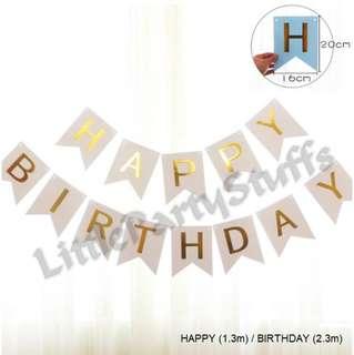 Happy Birthday Banner (White)
