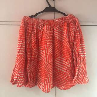 Orange Aztec Print Flowy Skirt