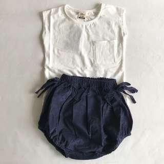 White shirt + baby bloomer/ big PP pant set