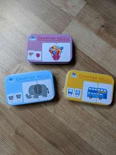 Set of 3 cognitive puzzle pieces game sets