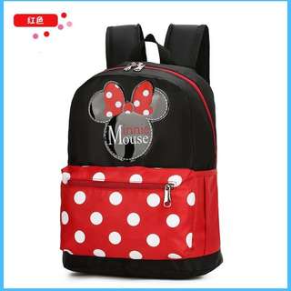 RED Cute Cartoon Mickey&Minnie Mouse Unisex Backpack