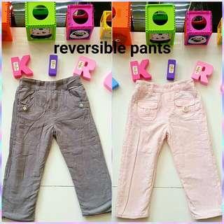 Reversible pants gray & pink