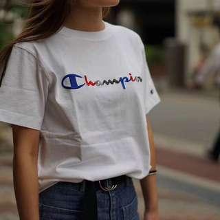 日本版champion冠軍刺繡夏季男女純棉短袖T恤