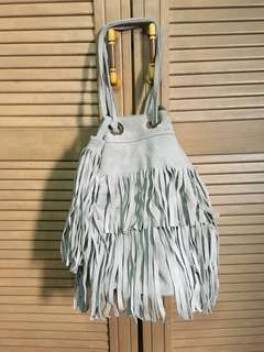 Zara Leather Fringe Bucket Bag