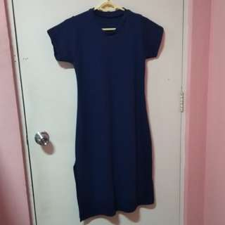 dress with slit at both side (navy blue)