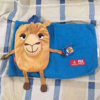 Fleece Blanket and Camel Bag