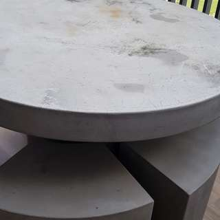 Outdoor Resin Made Concrete Round Table w 6 Chairs